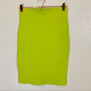 Shinestar | Lime Green Midi Bodycon Skirt - Medium
